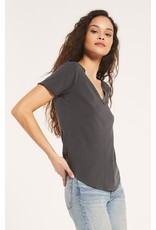 Z Supply The Organic Cotton V-Neck Tee - Washed Grey
