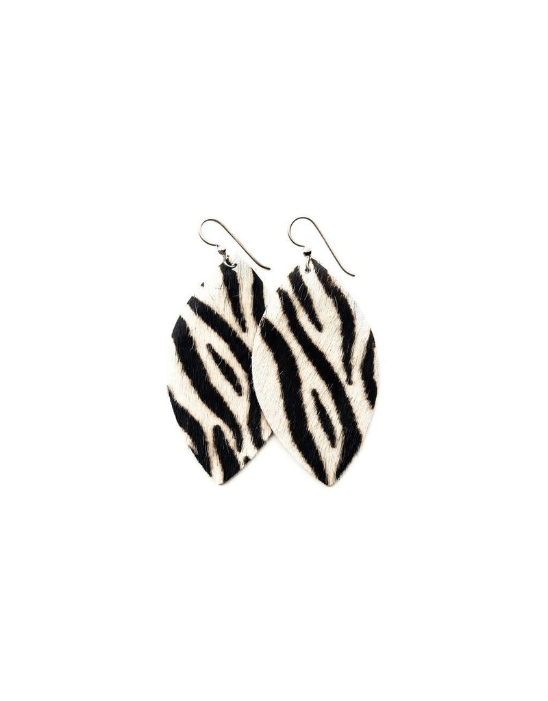 Keva Zebra Black and White Leather Earrings - Large