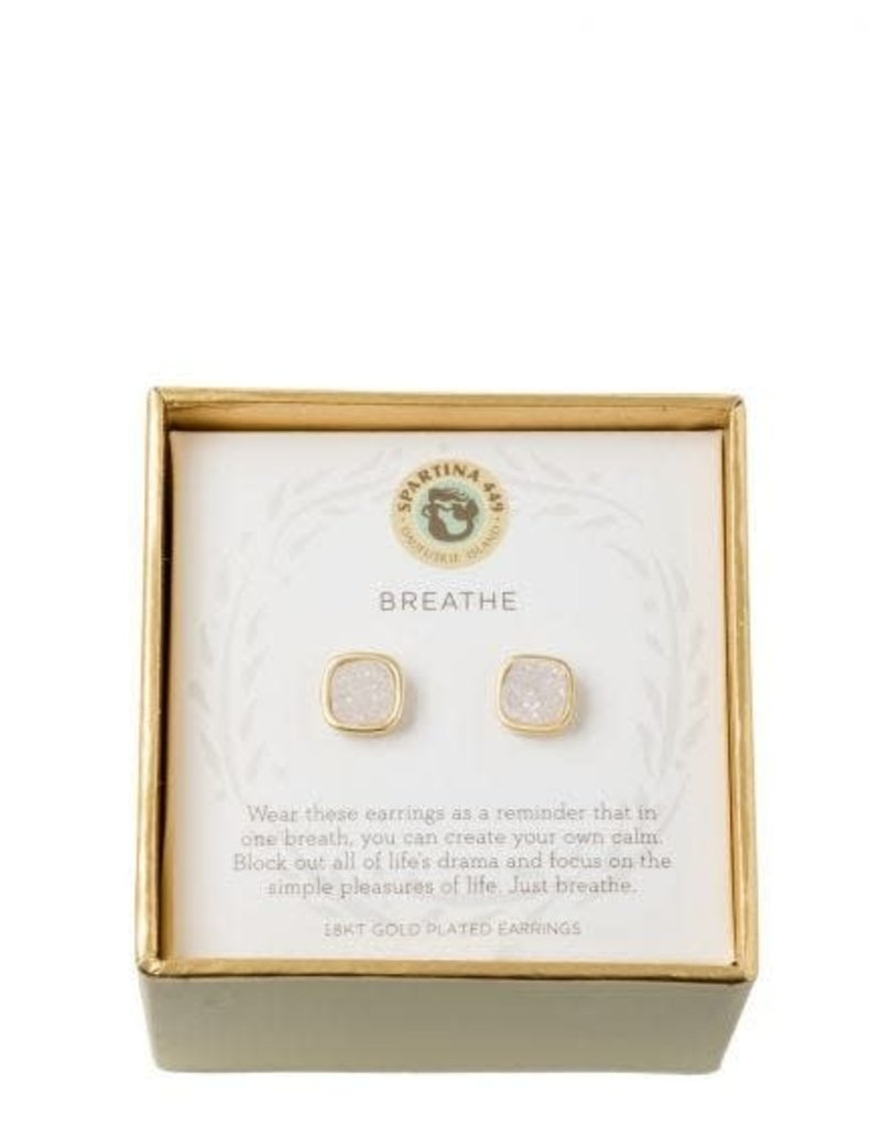Spartina 449 Sea La Vie Cream Druzy Stud Earrings - Gold Breathe