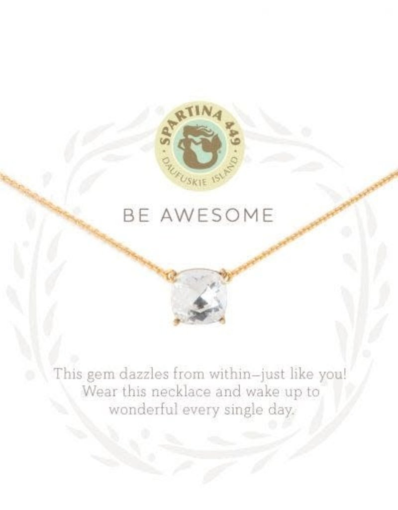 Spartina 449 Sea La Vie Be Awesome Necklace - Gold