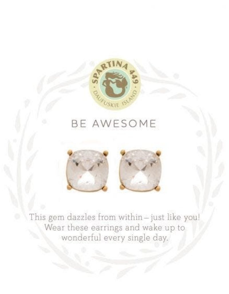 Spartina 449 Sea La Vie Be Awesome Stud Earrings - Gold