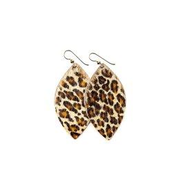 Keva Cheetah Leather Earrings - Large