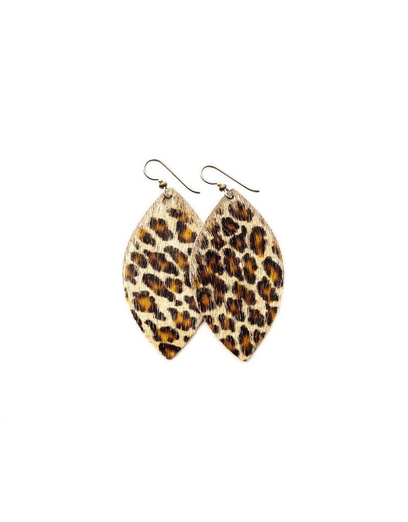Keva Cheetah Leather Earrings - Small