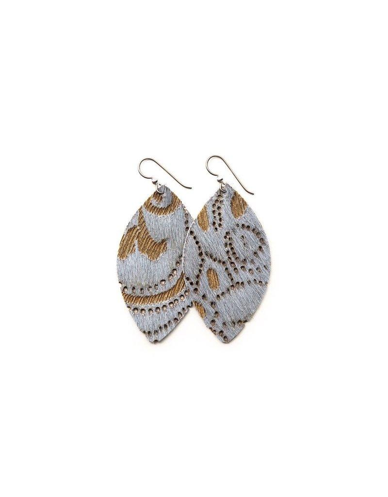Keva Grey Lace Leather Earrings - Large