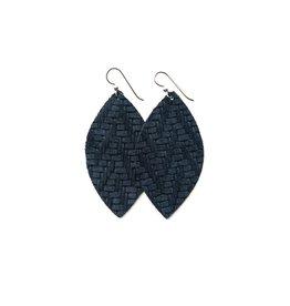 Keva Navy Chevron Leather Earrings - Large