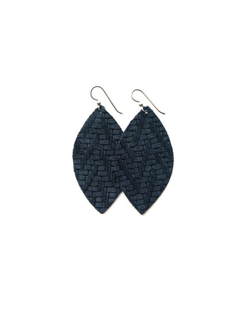 Keva Navy Chevron Leather Earrings - Large