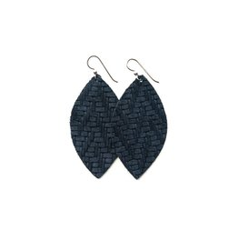 Keva Navy Chevron Leather Earrings - Small
