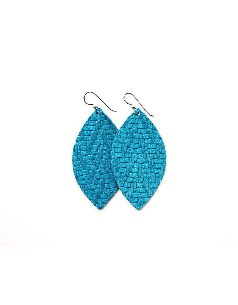 Keva Sea Blue Chevron Leather Earrings - Small