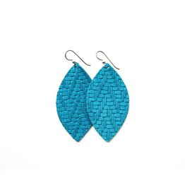 Keva Sea Blue Chevron Leather Earrings - Large
