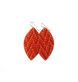 Keva Coral Chevron Leather Earrings - Large