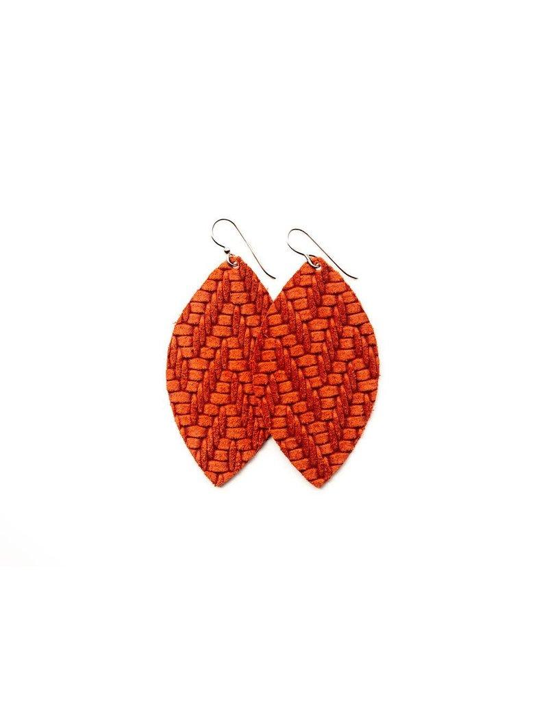 Keva Coral Chevron Leather Earrings - Small
