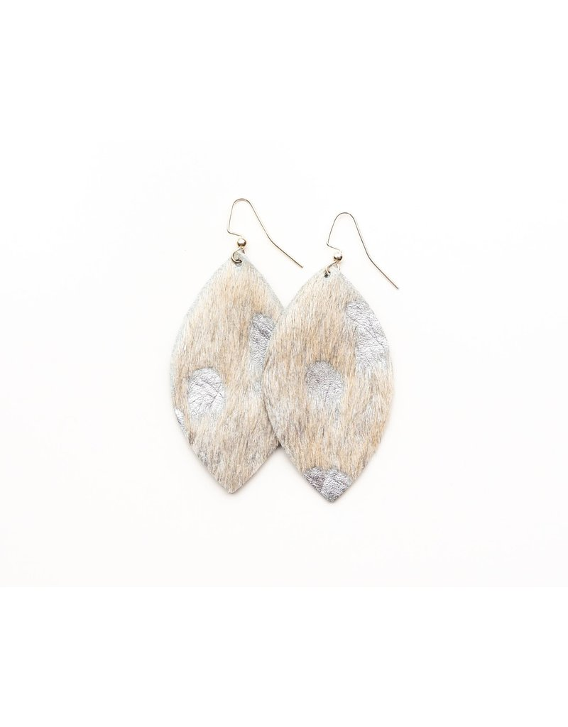Keva Silver Foil Leather Earrings - Large