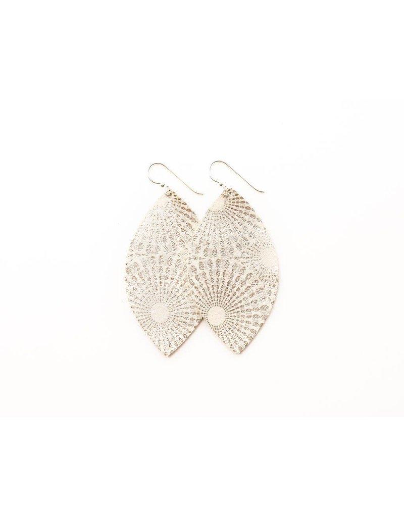 Keva Starburst Platinum Leather Earrings - Small