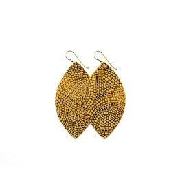 Keva Butterscotch & Bronze Mosaic Leather Earrings - Large
