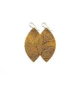 Keva Butterscotch & Bronze Mosaic Leather Earrings - Large