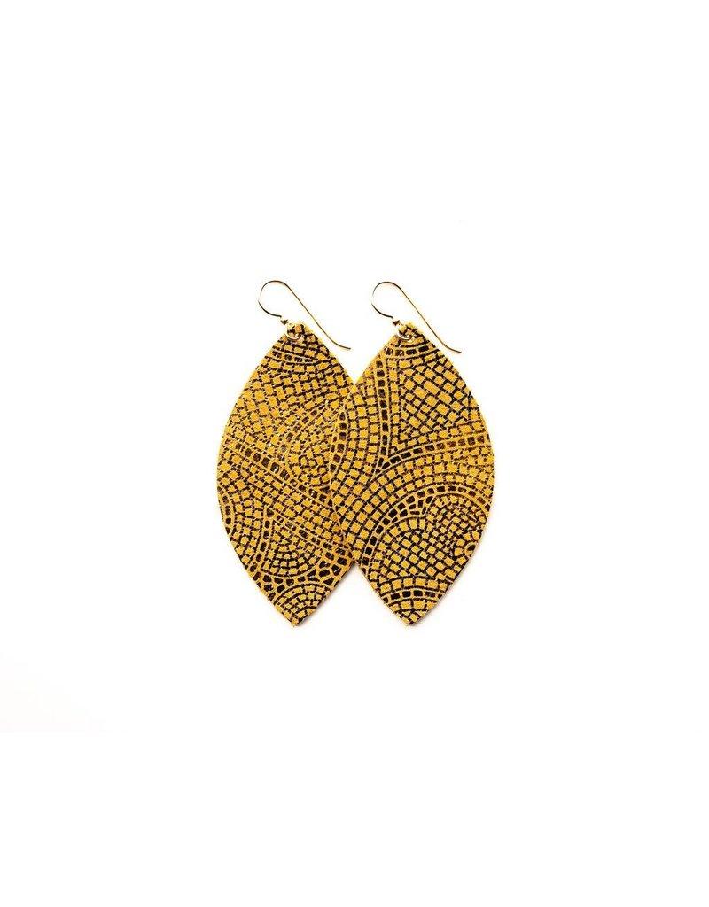 Keva Butterscotch & Bronze Mosaic Leather Earrings - Small