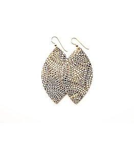 Keva Cream & Bronze Mosaic Leather Earrings - Small