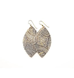Keva Cream & Bronze Mosaic Leather Earrings - Large