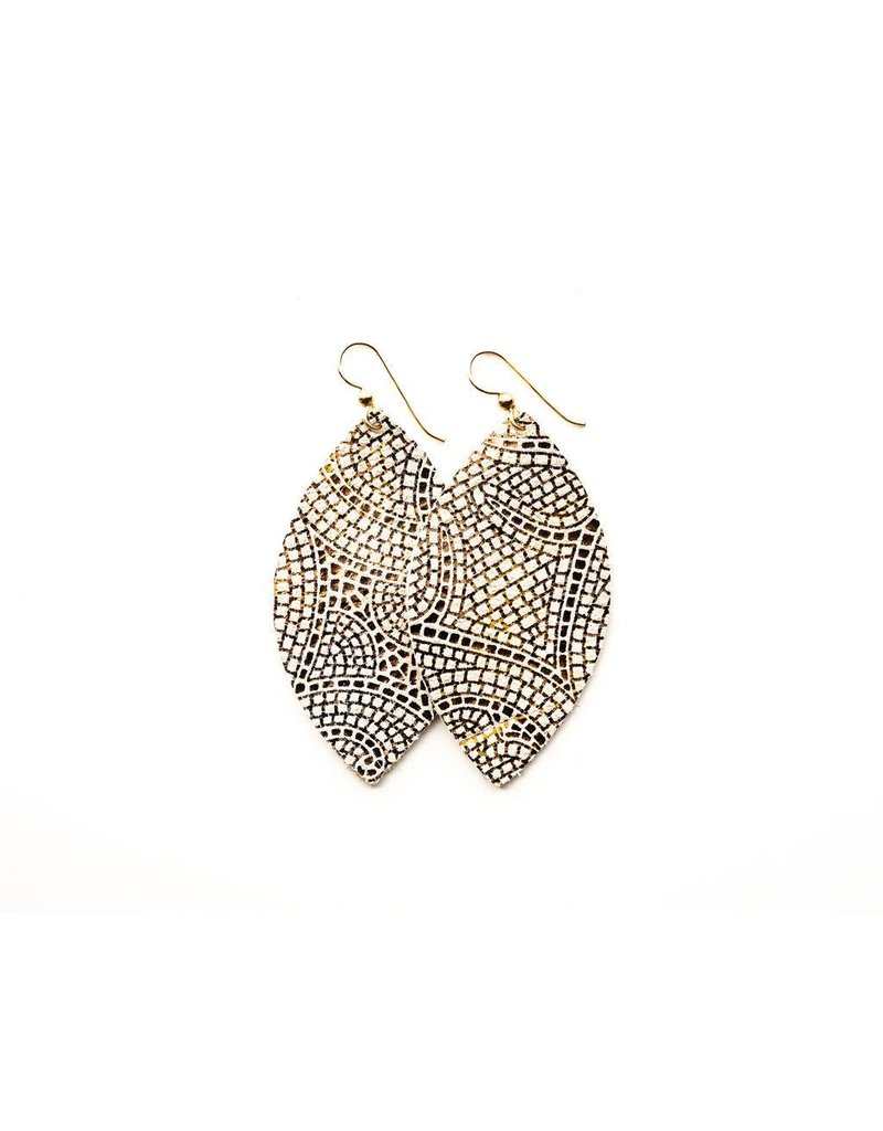 Keva Cream & Bronze Mosaic Leather Earrings - Large