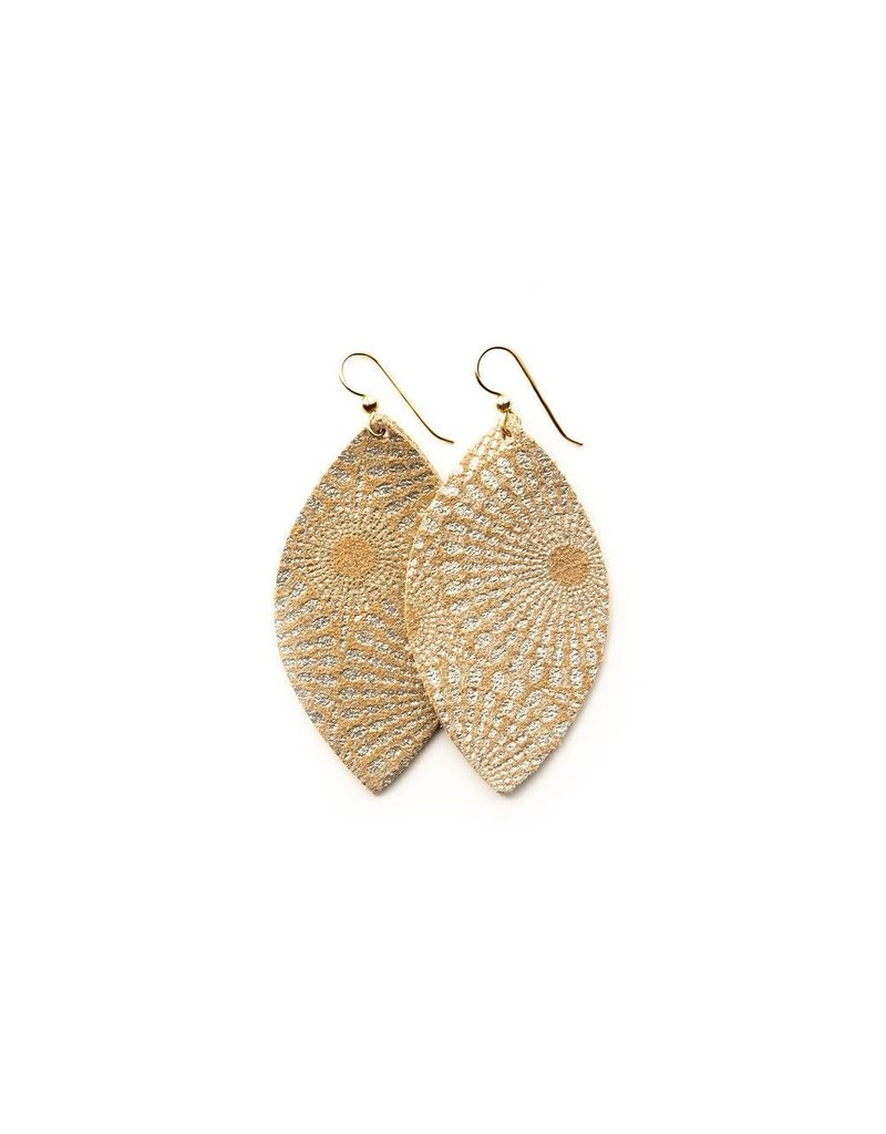 Keva Gold Starburst Leather Earrings - Large