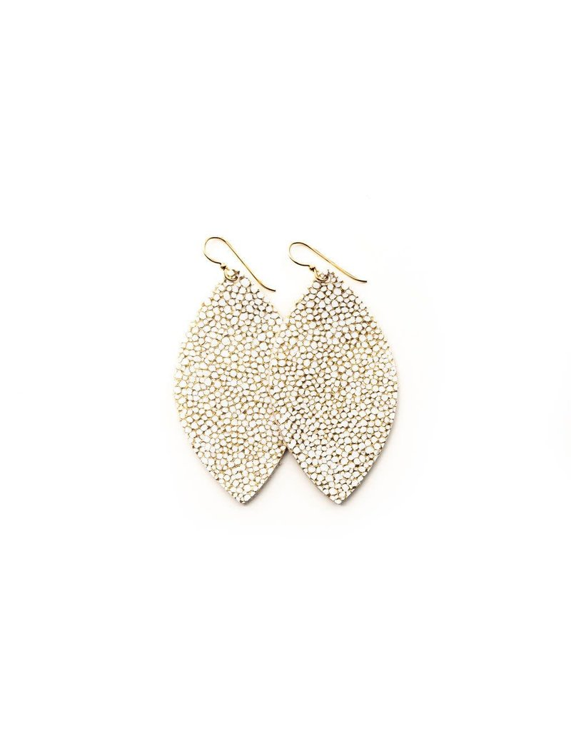 Keva White & Gold Speckled Leather Earrings - Small