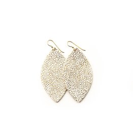 Keva White & Gold Speckled Leather Earrings - Large