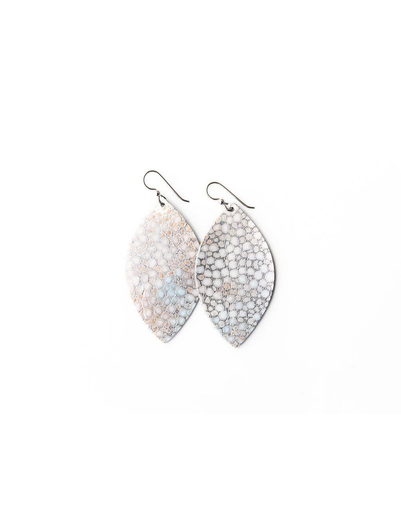 Keva Silver Metallic Speckled Leather Earrings - Large