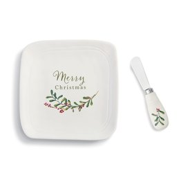 Demdaco Christmas Greenery Plate and Spreader Set