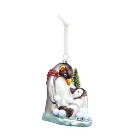 Demdaco Blown Glass Two Penguins Ornament
