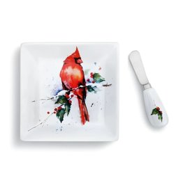 Demdaco Cardinal Plate and Spreader Set