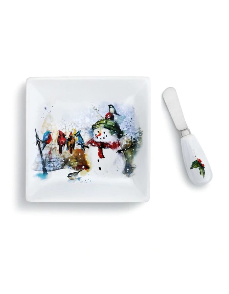 Demdaco Winter Friends Plate and Spreader Set