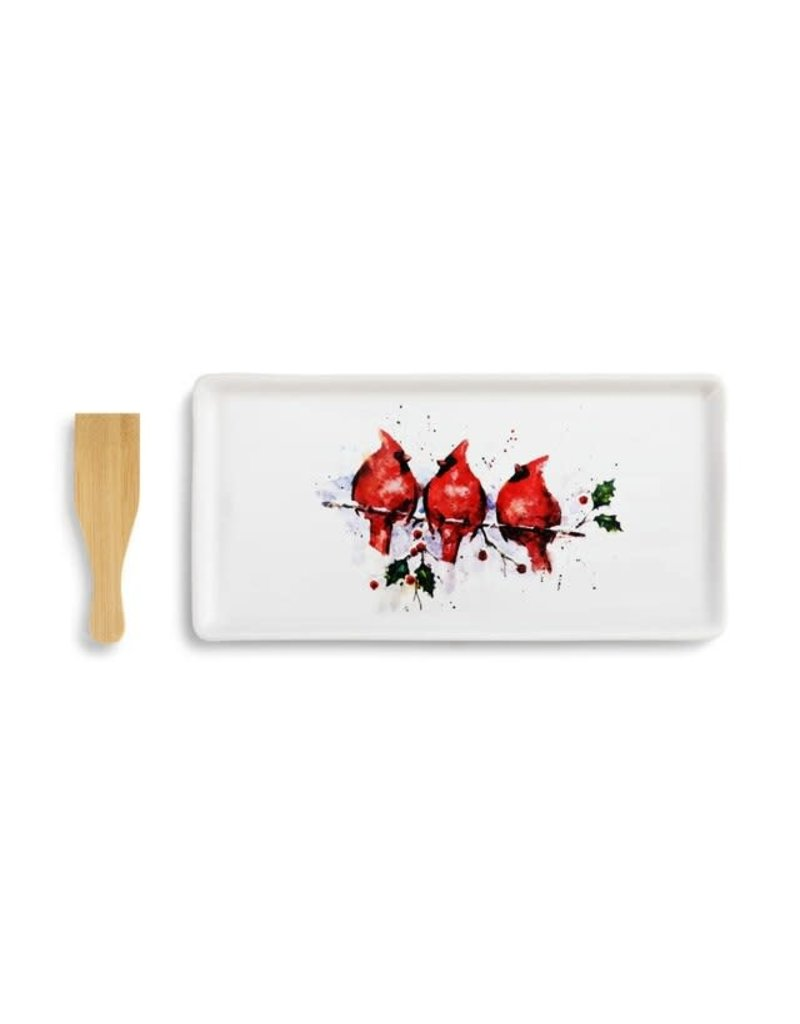 Demdaco Three Cardinals Appetizer Tray w/Spatula