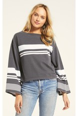 Z Supply Tera Stripe Pullover - Charcoal