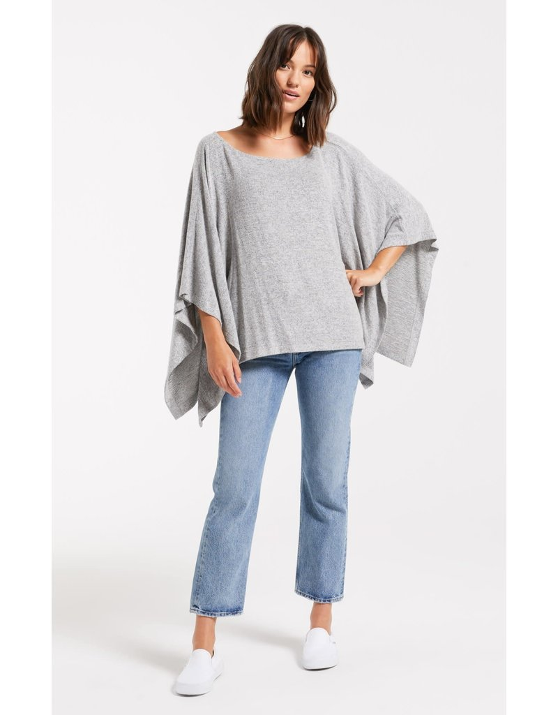 Z Supply Ruby Marled Poncho - Heather Grey