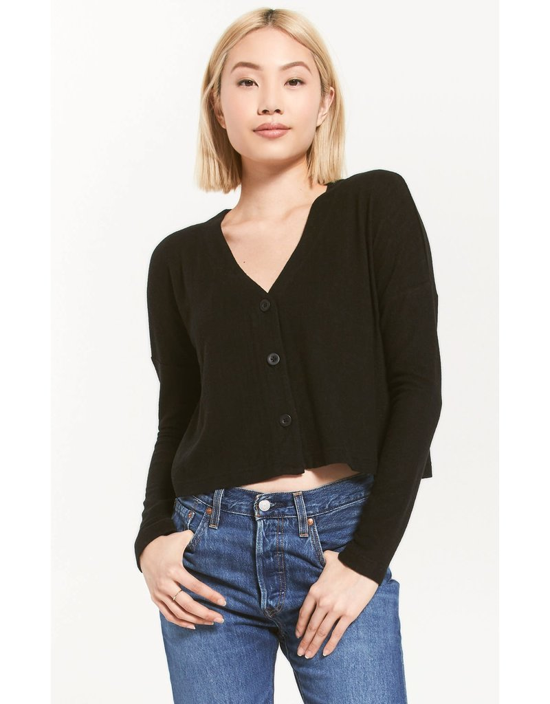 Z Supply Cher Sweater Slub Top - Black