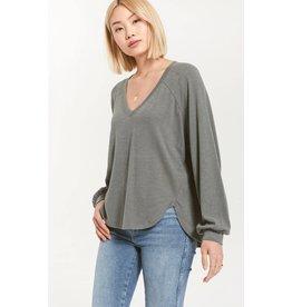 Z Supply Plira V-Neck Slub Sweater - Ash Green