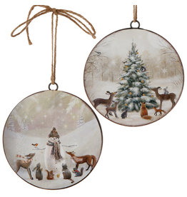 Snowman and Tree Disc Ornament