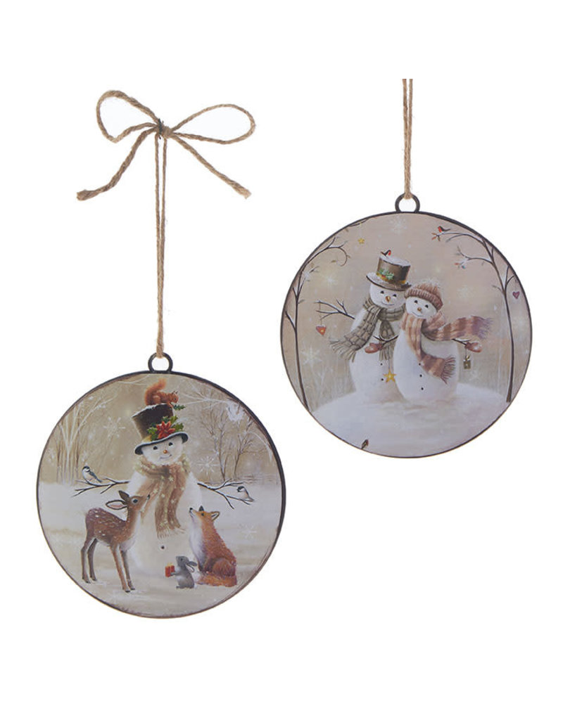 Snowman Disc Ornament
