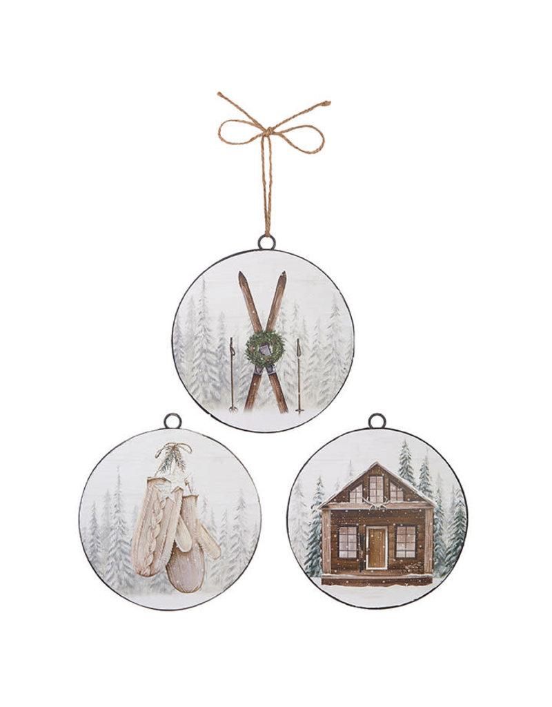 Ski Lodge Disc Ornament