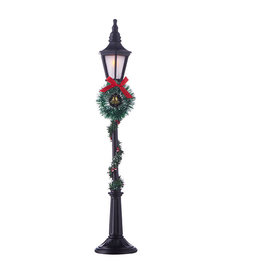"18.5"" Lighted Lamppost with Greenery"