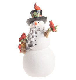 Snowman with Top Hat and Cardinals