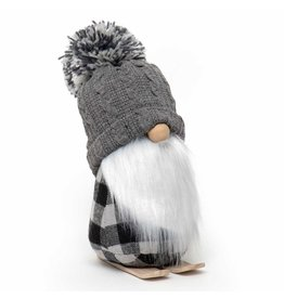 Gnome On Skis With Grey PomPom Hat