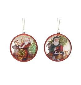 Santa Glass Disc Ornament