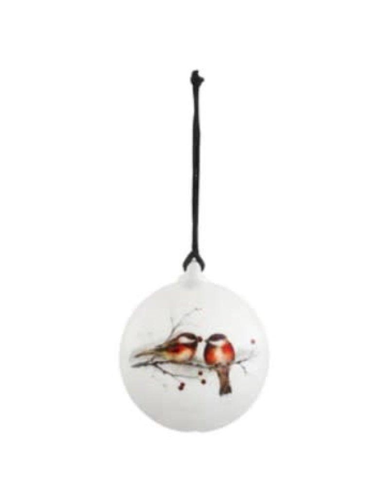 Demdaco Ceramic Winter Chickadees Ornament