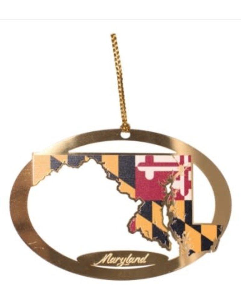 MarylandMyMaryland MD State Brass Ornament