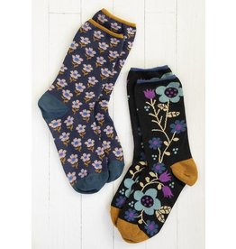 Natural Life Boho Sock Set - Black/Navy/Floral