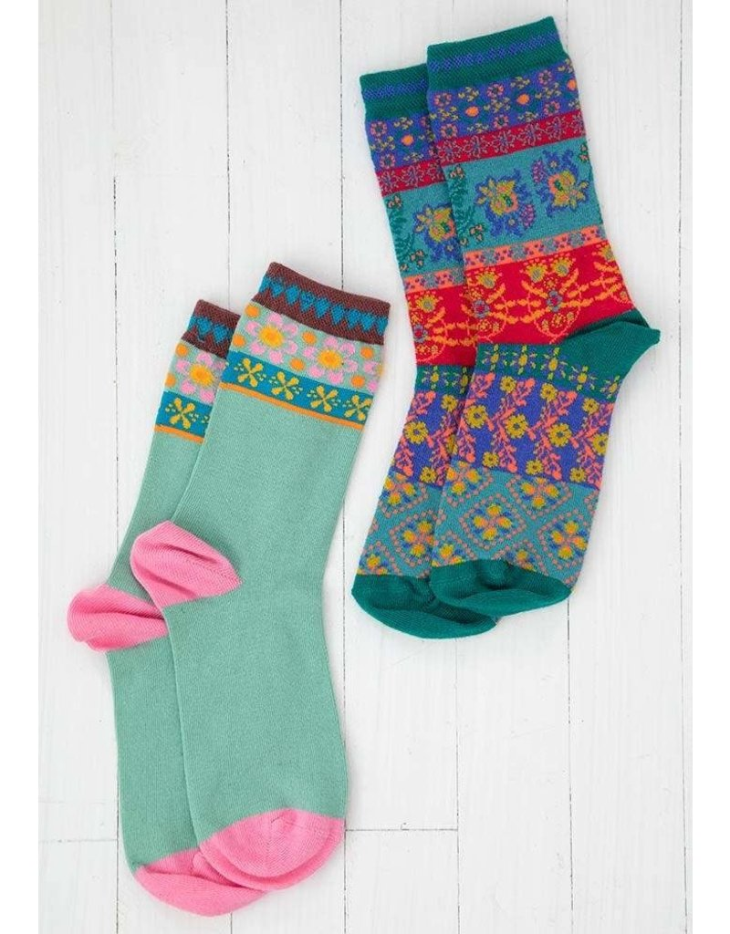 Natural Life Boho Sock Set - Light Blue