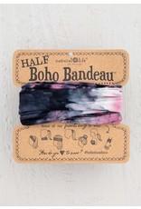 Natural Life Half Boho Bandeau - Rose, Black & White Tie Dye