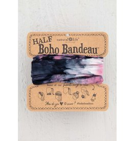 Natural Life Half Boho Bandeau - Rose, Black & White Tie Dye
