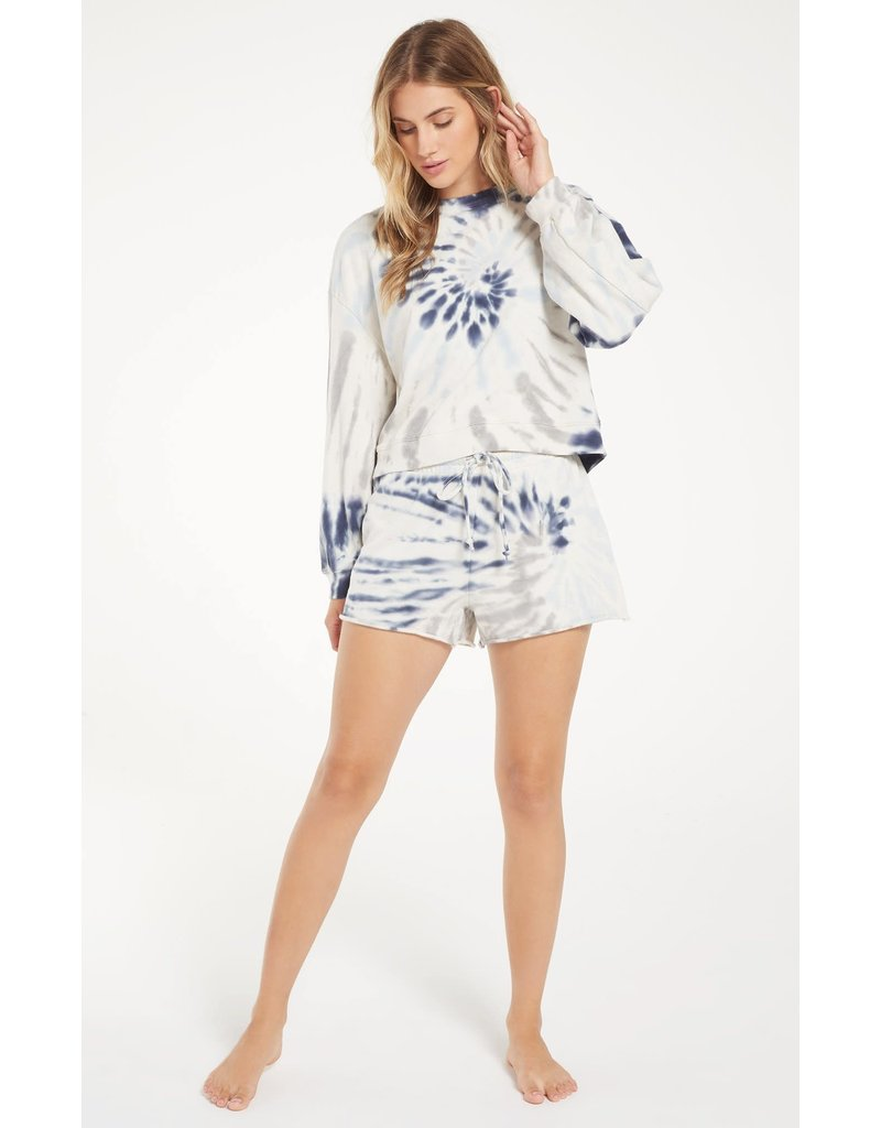 Z Supply Tie Dye Shorts - Deep Indigo